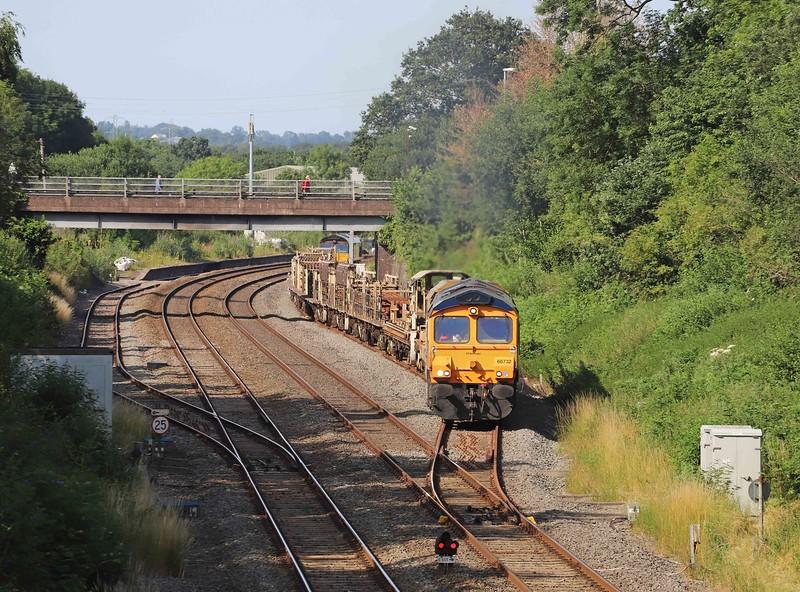 66732/66848, 14.27 Westbury Yard-Burngullow Junction, departing Tiverton Loops, Willand, near Tiverton,, 21-7-21.