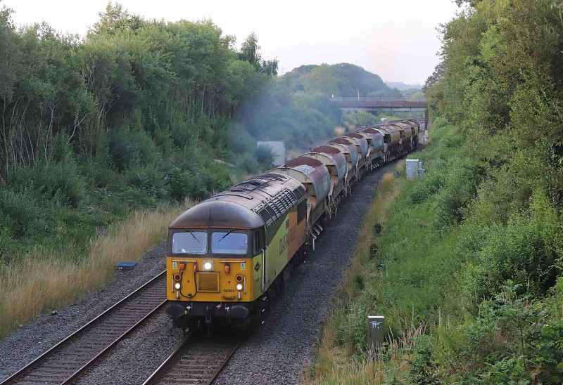 56302, Westbury Yard-Westbury Yard, via Exeter St David's and Bristol Temple Meads, departing Tiverton down loop, Willand, near Tiverton, 22-7-21.