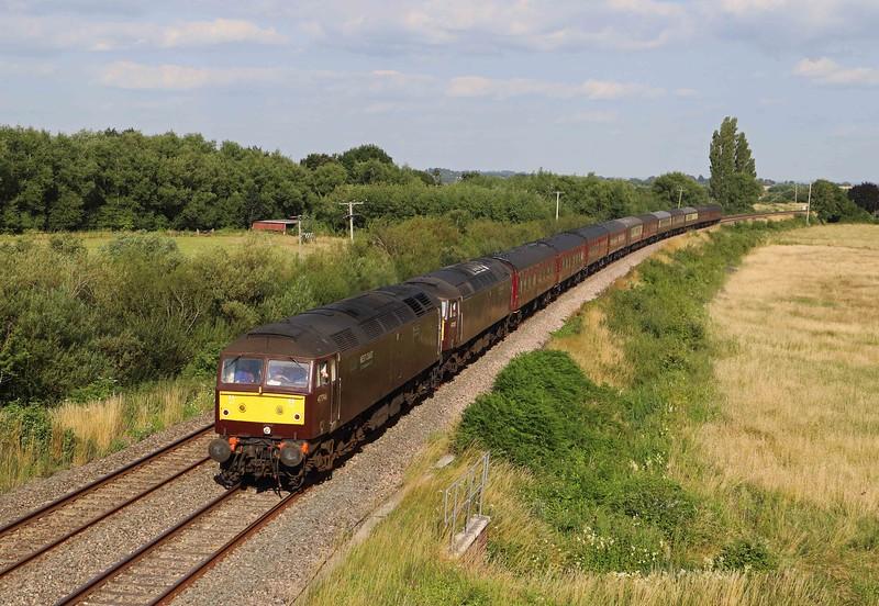 47746/47237 (failed at Leamington Spa), 07.48 Saltburn-Torquay, Oath, near Langport, 16-7-21.