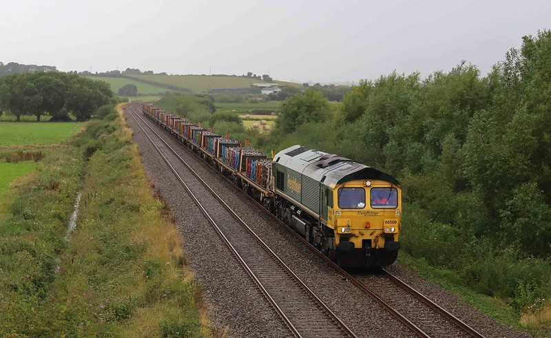 66509, diverted 09.47 Taunton Fairwater Yard-Doncaster Wood Yard, Wick, near Langport, 9-8-21. 144min late. Diversion via Westbury caused by Bristol Temple Meads remodelling project.