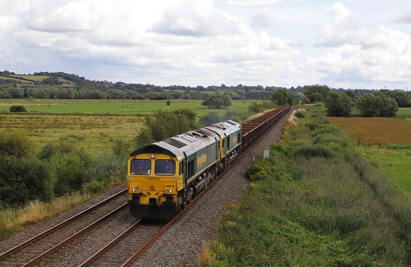 66515/66554, 11.33 Westbury Yard-Bristol West Junction, via Taunton Fairwater Yard , Wick, near Langport, 9-8-21. 66554 had earlier worked 6C72 Fairwater-Westbury, but its driver was needed to work 66515's train and also to get 66554 back to Taunton for August 10 work,  and the two trains were too long to combine.