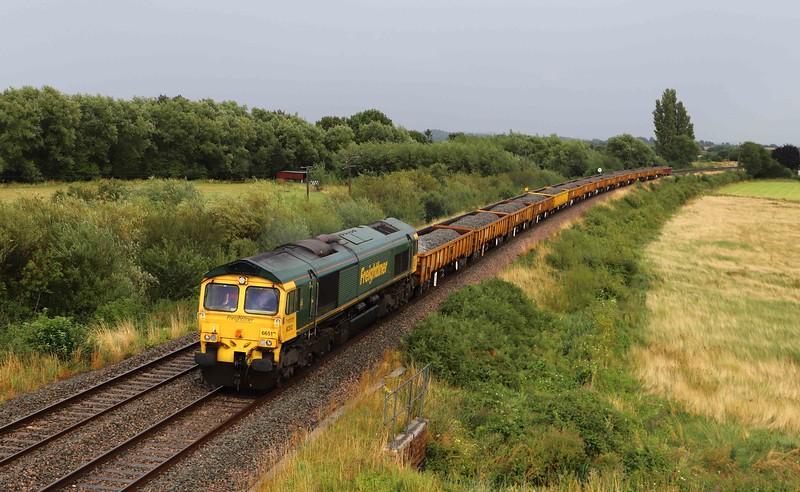 66512, 16.26 Westbury Yard-Bristol West Junction, via Taunton Fairwater Yard, Oath, near Langport, 9-8-21.