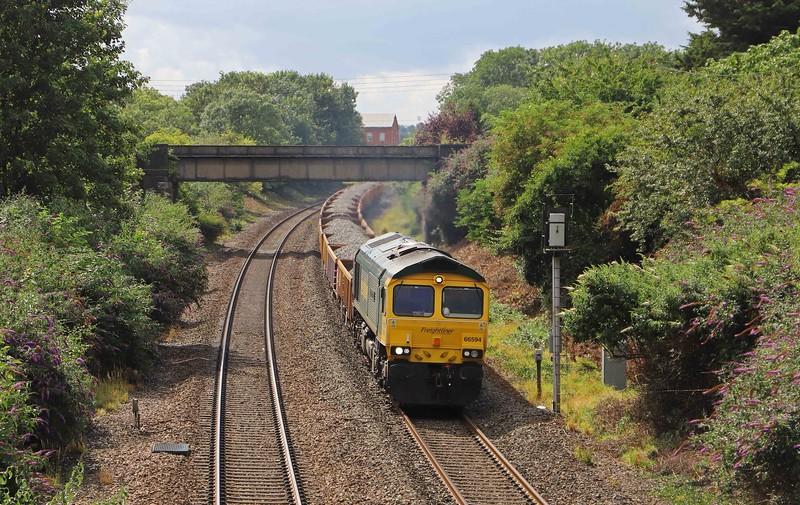 66594, 14.26 Westbury Yard-Bristol West Junction, via Taunton Fairwater Yard, Creech St Michael, near Taunton, 9-8-21.