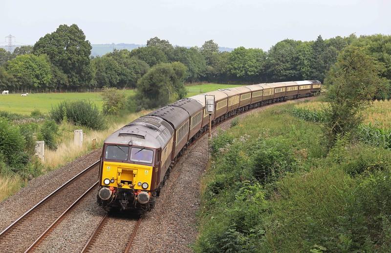 57313/57601, top-and-tail 07.25 Swansea-Paignton, Northern Belle, Willand, near Tiverton, 3-9-21.