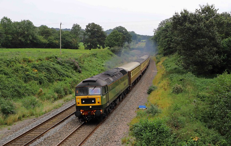 47805 (D1935), 08.25 Crewe-Kingswear ecs, Whiteball, 13-9-21. For the following day's The Welshman tour.