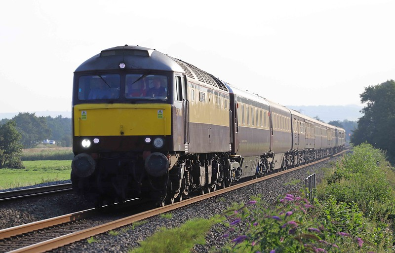 57601/57313, 16.55 Paignton-Swansea, Northern Belle, Pugham Crossing, near Burlescombe, 3-9-21.