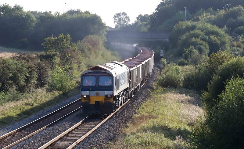 59102+66526 (dead in train), 17.05 Merehead Quarry-Hanwell Bridge Loop (Southall), Berkley Lane, Berkley, near Frome, 22-9-21.