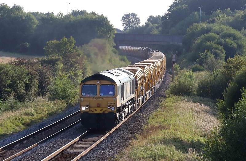 66951/66556, top-and-tail 16.00 Taunton Fairwater Yard-Slough, via Frome, Berkley Lane, Berkley, near Frome, 22-9-21.
