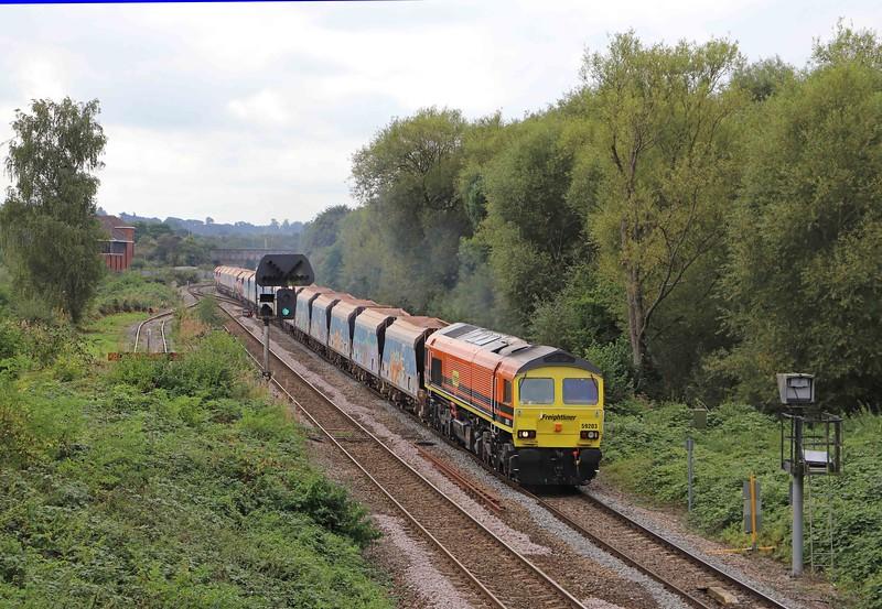 59203, 11.23 Merehead Quarry-Wootton Bassett, Hawkeridge Junction, Westbury, 22-9--21.