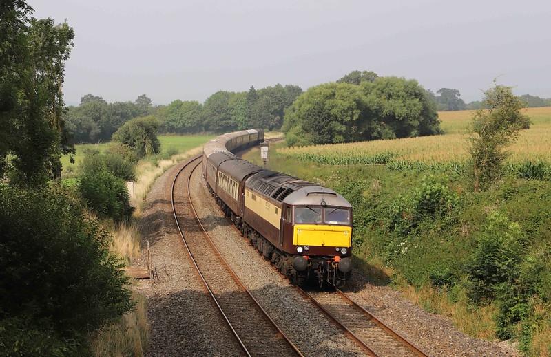 57601/57314, 09.29 Birmingham International-Paignton, Willand, near Tiverton, 5-9-21. Tour reversed at Gloucester after 57314 developed brake problems at Cheltenham.