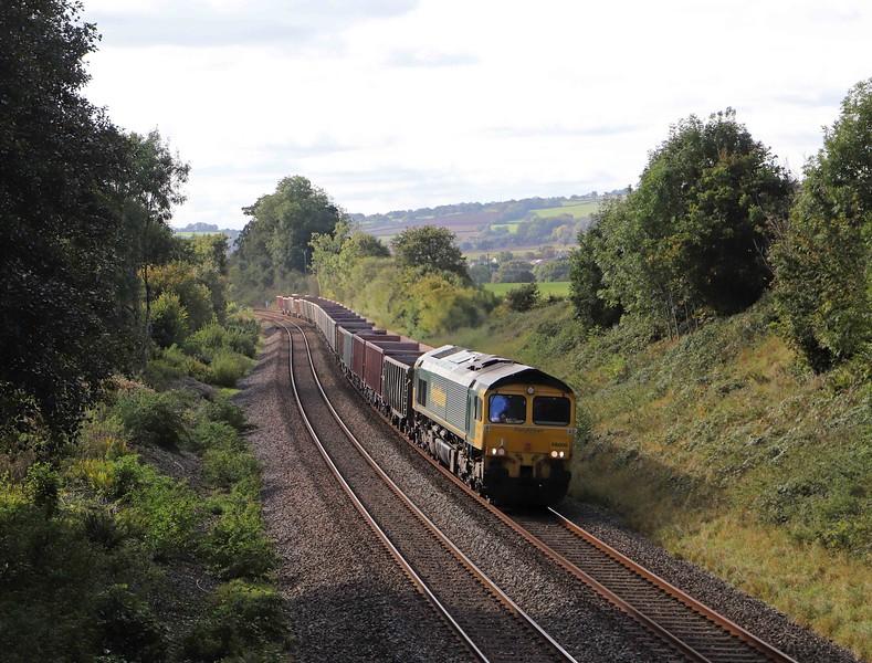 66606, 15.42 Exeter Riverside Yard-Whatley Quarry, Whiteball, 12-10-21. 130min early.
