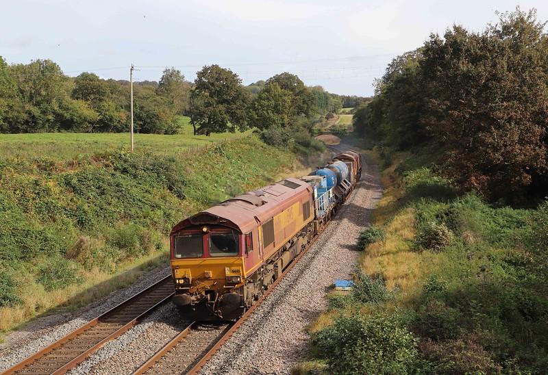 66116/66098, top-and-tail 08.50 Westbury-St Blazey RHTT, via Salisbury, Whiteball, 11-10-21.