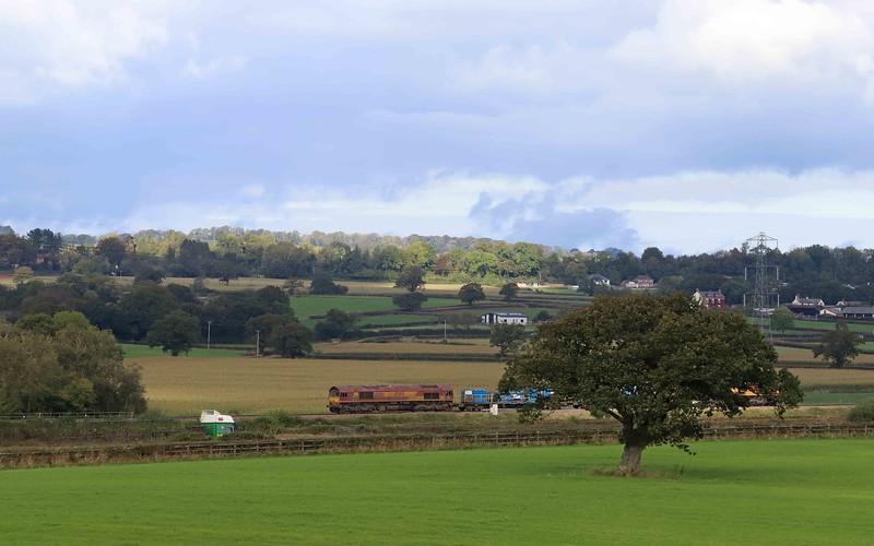 66116/66098, top-and-tail 08.50 Westbury-St Blazey, via Salisbury, Pugham Crossing, near Burlescombe, 13-10-21.