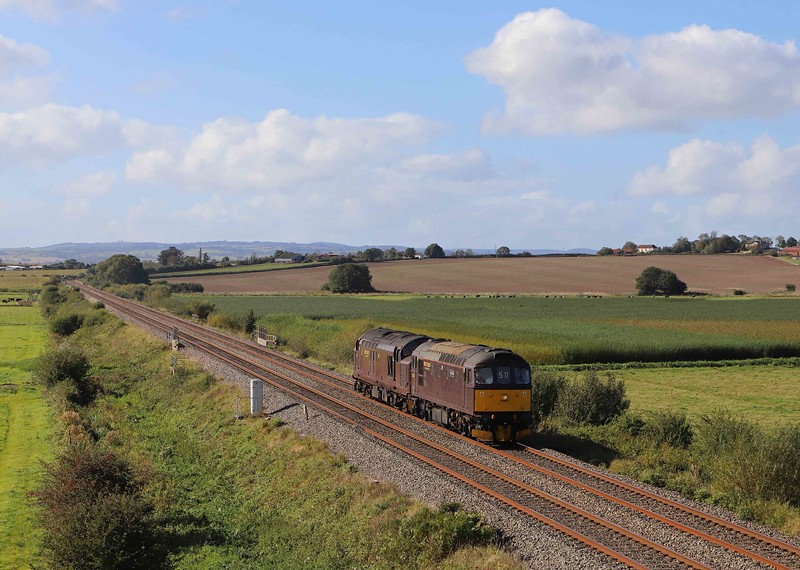 33207/37706, 10.22 Plymouth-Theale Loop, Oath, near Langport, 1-10-21. Diesels had worked Cornwall legs of the four-day Mayflower to Devon and Cornwall tour, worked from London Victoria to Plymouth and back by 45596 and 61306.