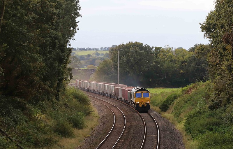 66606, 15.42 Exeter Riverside Yard-Whatley Quarry, Worth, near Silverton, 12-10-21. 100min early.