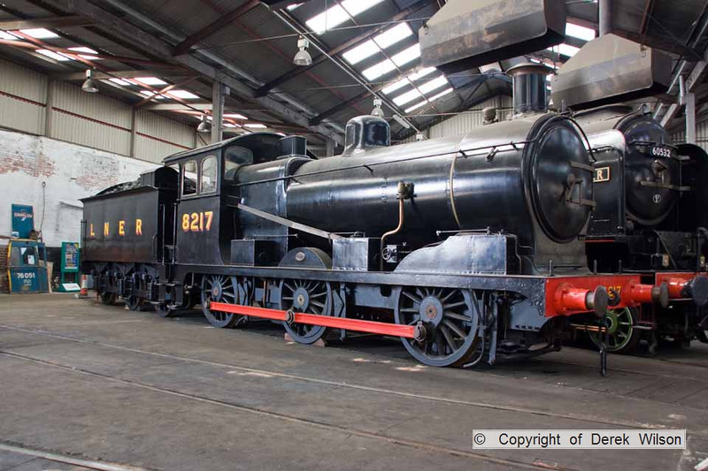 090808-001     LNER J17 0-6-0 no 8217, seen inside the roundhouse at Darrow Hill. It was Built by the Great Eastern Railway in 1905 & became no 65567 in it's BR years.