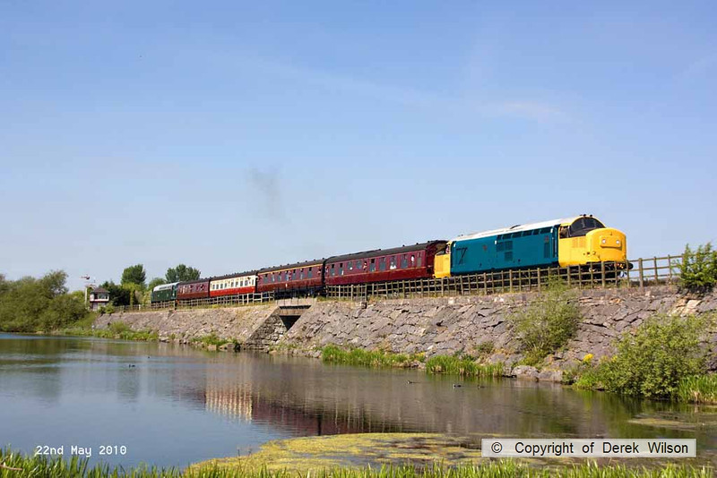 100522-003     Class 37 no. 37264, top & tail with D212 Aureol crossing Butterley reservoir, heading to Swanwick.