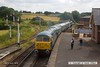 160723-038     The 10.50 from Riddings pulls in to Swanwick Junction, led by class 56 no 56006 with class 47 no 47401 tucked in behind. Bringing up the rear is Peak class 46 no 46045.