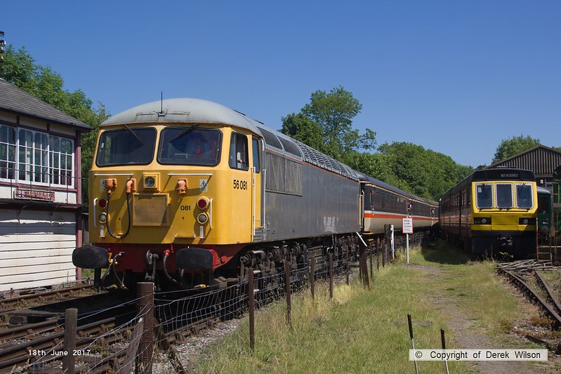 170618-019  UKRL class 56 No 56081 is seen leaving Butterley, at the rear of the 13:51 off Hammersmith.