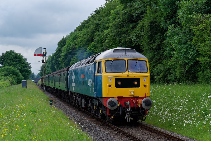 47579 passes Ropley Down Outer Home signal, with the 14:15 Alresford - Alton, <br /> during the Diesel Gala on 1st June 2018.