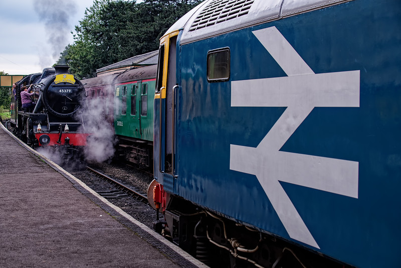 47579 pauses at Ropley, while Black Five 45379 is being prepped for working the <br /> Real Ale Train, during a running day on 8th September 2018.
