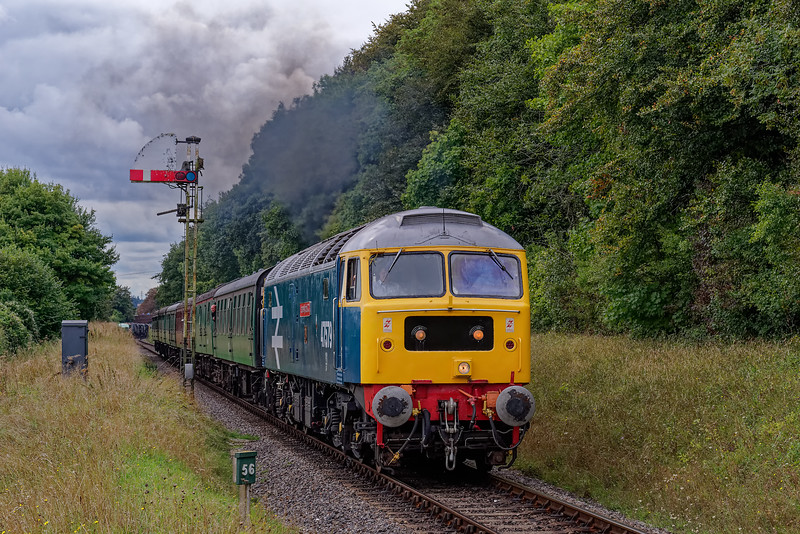 47579 passes the Ropley Down Outer Home signal, with the 14:15 Alresford - Alton, <br /> during a running day on 8th September 2018.