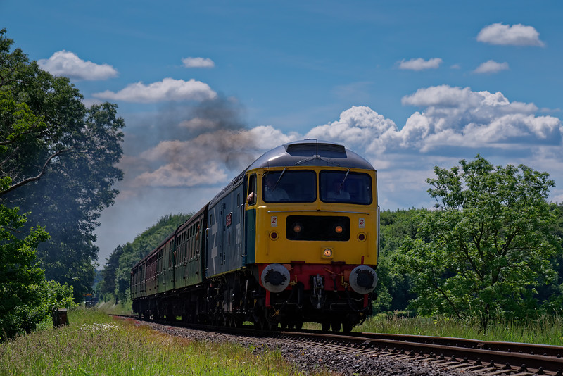 47579 crosses Rookwood Lane Bridge, with the 13:35 Alresford - Alton, <br /> during the Diesel Gala on 3rd June 2018.
