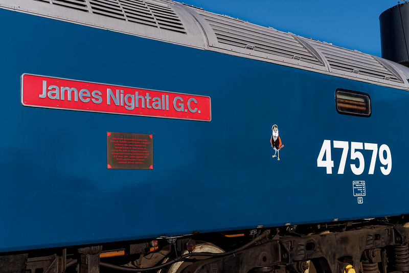 Number and nameplate detail on 47579, Ropley yard 25th November 2017.