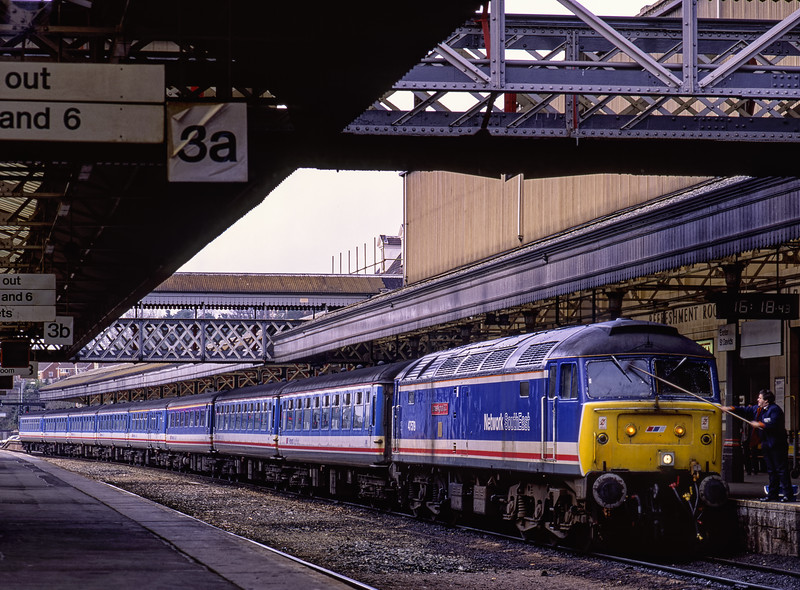 47579 at Exeter St Davids, with the 16:22 service to Waterloo, on 21st March 1992.  <br /> Scanned Transparency.