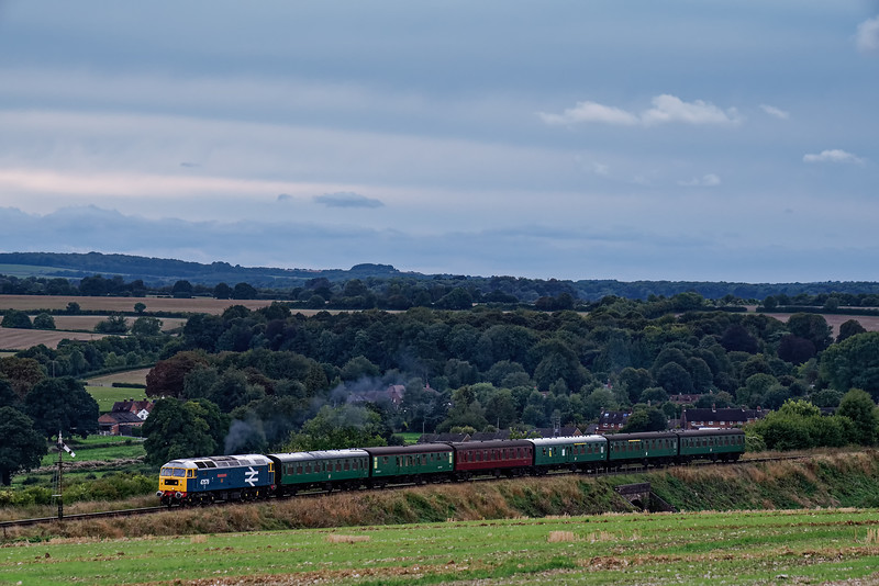 47579 at Northside Lane with 5R90, the 17:45 Alresford - Ropley ECS for the Real Ale Train, during a running day on 8th September 2018.