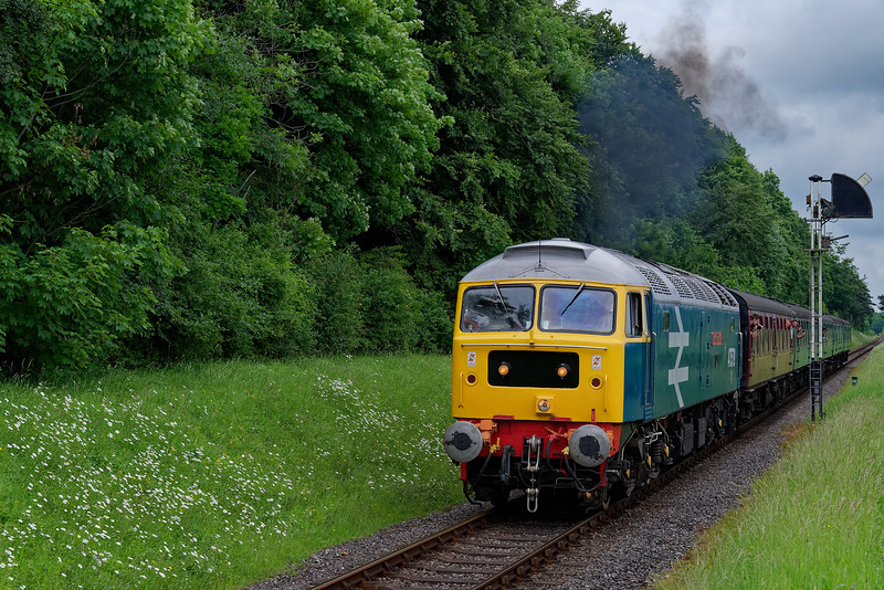 47579 getting away from the Ropley Down Outer Home signal, with the <br /> 15:20 Alton - Alresford, during the Diesel Gala on 1st June 2018.