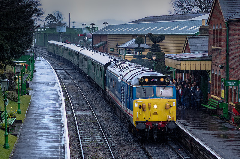 50027 at Ropley, with the 16:00 Alton - Alresford, on 13th April 2013.