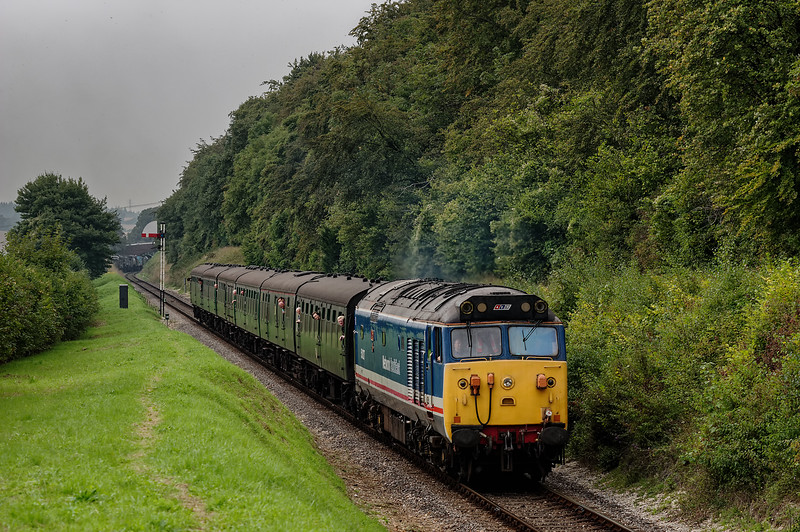 50027 passes the Ropley Down Outer Home signal, with the 11:55 Alresford - Alton, <br /> during the Diesel Gala on 6th September 2014.