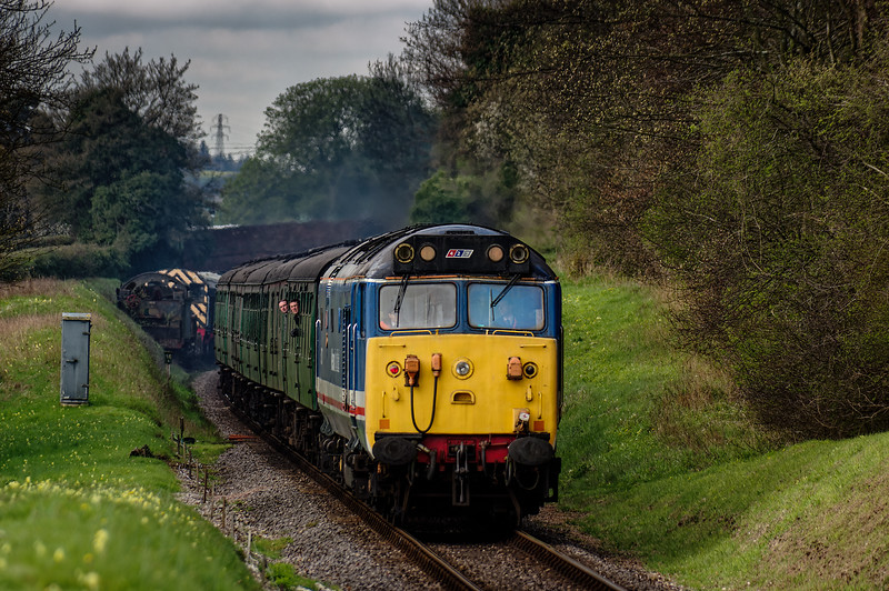 50027 at College Crossing, with the 09:15 Alresford - Alton, <br /> during the Diesel Gala on 23rd April 2016.