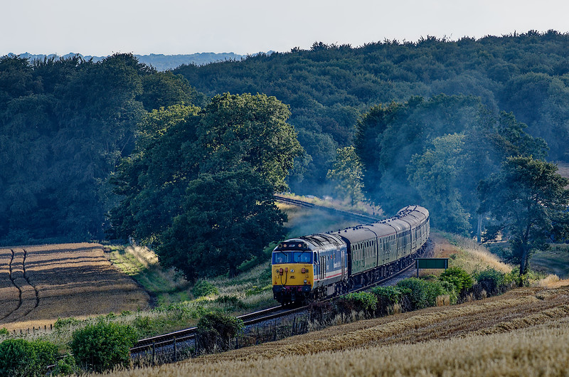 50027 on Wanders Curve, with the 18:20 Ropley - Alton, ECS for the Real Ale Train, <br /> on 3rd August 2013.