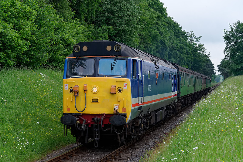 50027 approaches Milepost 56, with the 14:00 Alton - Alresford, <br /> during the Diesel Gala on 1st June 2018.