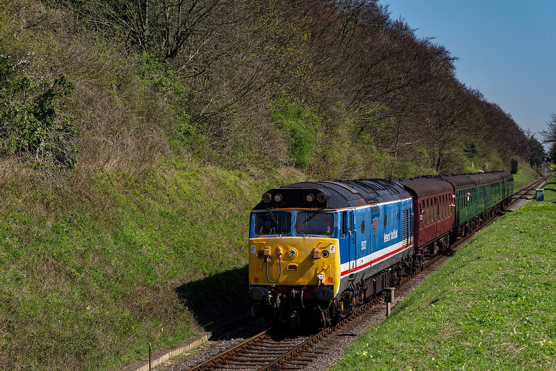 50027 at College Crossing, with the 11:15 Alton - Alresford, on 8th April 2017.
