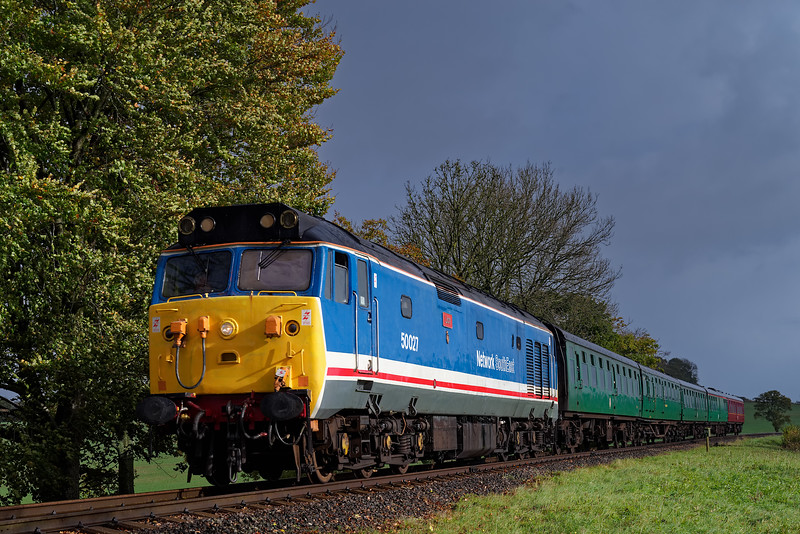 50027 at Rookwood Lane, with the 09:30 Alton - Alresford, <br /> during the Diesel Gala, on 21st October 2017.