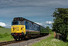 50027 passes the permanent way hut at Northside Lane, with the 15:14 Alton - Alresford, <br /> on 8th June 2014.
