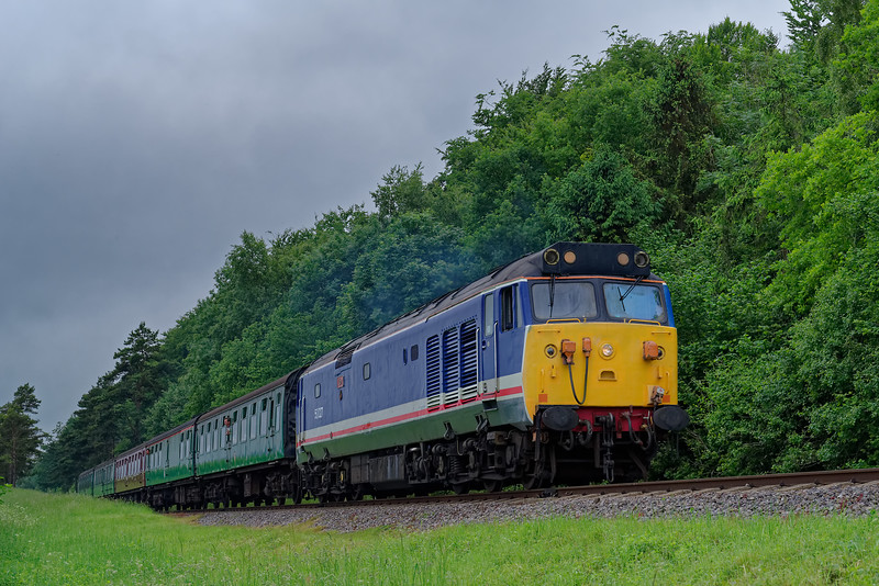 50027 at Stable Lane, with the 09:45 Alresford - Alton, <br /> during the Diesel Gala on 1st June 2018.