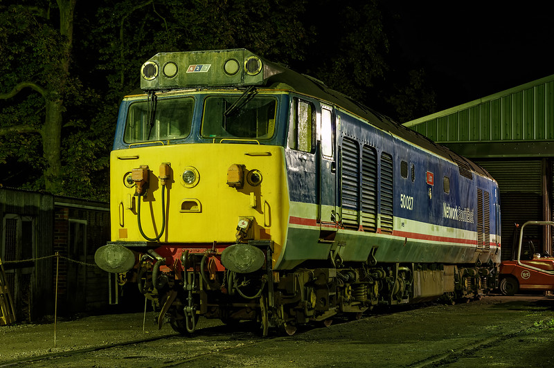 50027 under the lights in Ropley yard, during the Diesel Gala on 6th September 2014. <br /> Pity about the forklift.