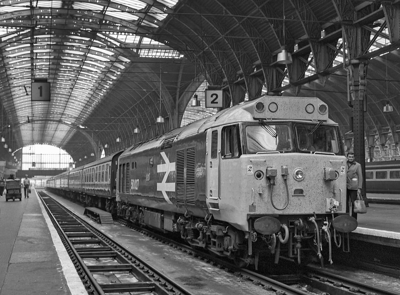 50027 on the blocks at Paddington, having brought in the ECS for 1A38, the 14:15 to Oxford, on 23rd August 1983. Scanned Negative.
