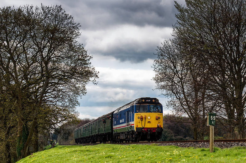 50027 at Rookwood Lane, with the 13:15 Alresford - Alton, <br /> during the Diesel Gala on 23rd April 2016.