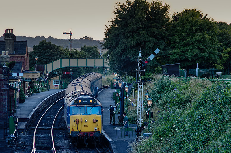50027 at Ropley, with the 20:12 Alresford - Alton Real Ale Train, on 3rd August 2013.