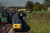 50027 departs from Ropley, with the 09:00 Alresford - Alton, private hire RAT, <br /> on 30th April 2016.
