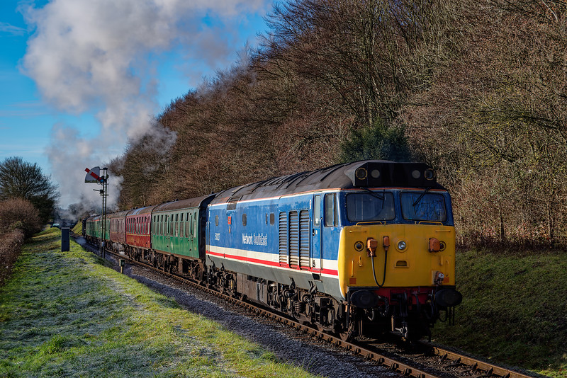 50027 passing Milepost 56, on the rear of the 10:00 Alton - Ropley, Santa Special, <br /> on 16th December 2017. Black Five 45379 is the train engine.