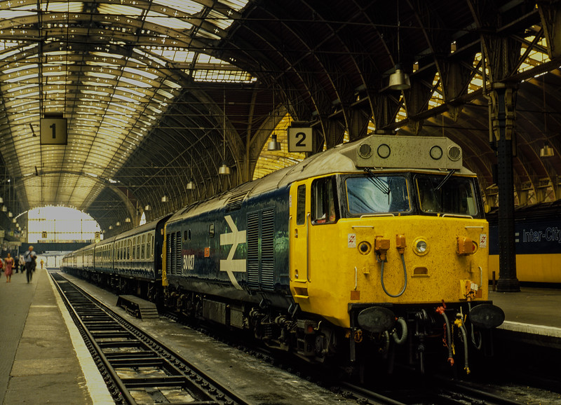 50027 on the blocks at Paddington, having brought in the ECS for 1A38, the 14:15 to Oxford, on 23rd August 1983. Scanned Transparency.