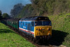 50027 climbs away from Ropley, with the 10:10 Alresford - Alton, on 8th April 2017.