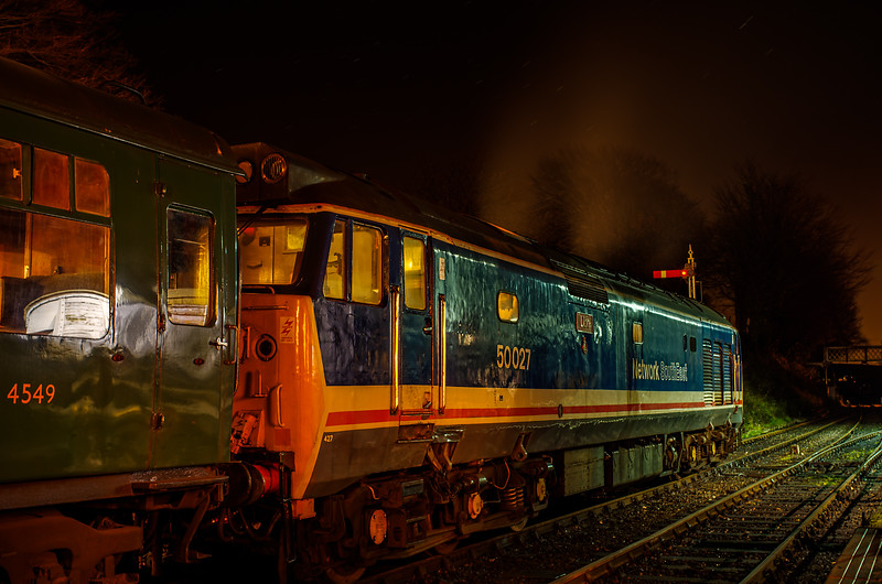 50027 at Ropley waiting to depart with the ECS for the Real Ale Train to Alton, <br /> on 1st December 2012.