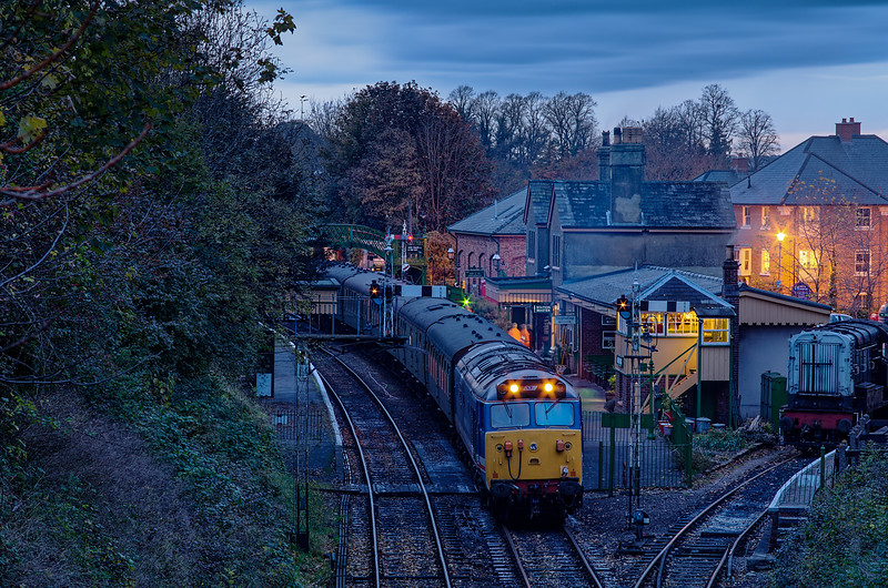 50027 at Alresford with the ECS for the Real Ale Train, on 3rd November 2012.